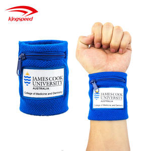 New Arrival Cotton zipper pocket wrist band or Wristband Set with custom embroidery logo