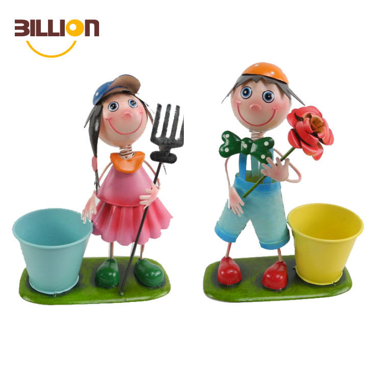 Iron Boy Girl Figures Garden Flower Pot, Decorative Plant Pots