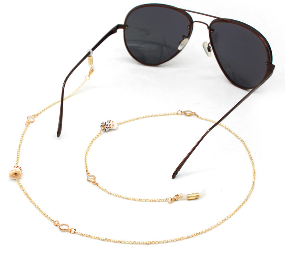 Fashion Reading Glasses Chain Shell Crystal Sunglasses Cords Beaded Eyeglass Lanyard Hold Straps Eyewear Retainer