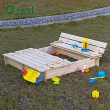 Children wooden outdoor play sandbox with benches