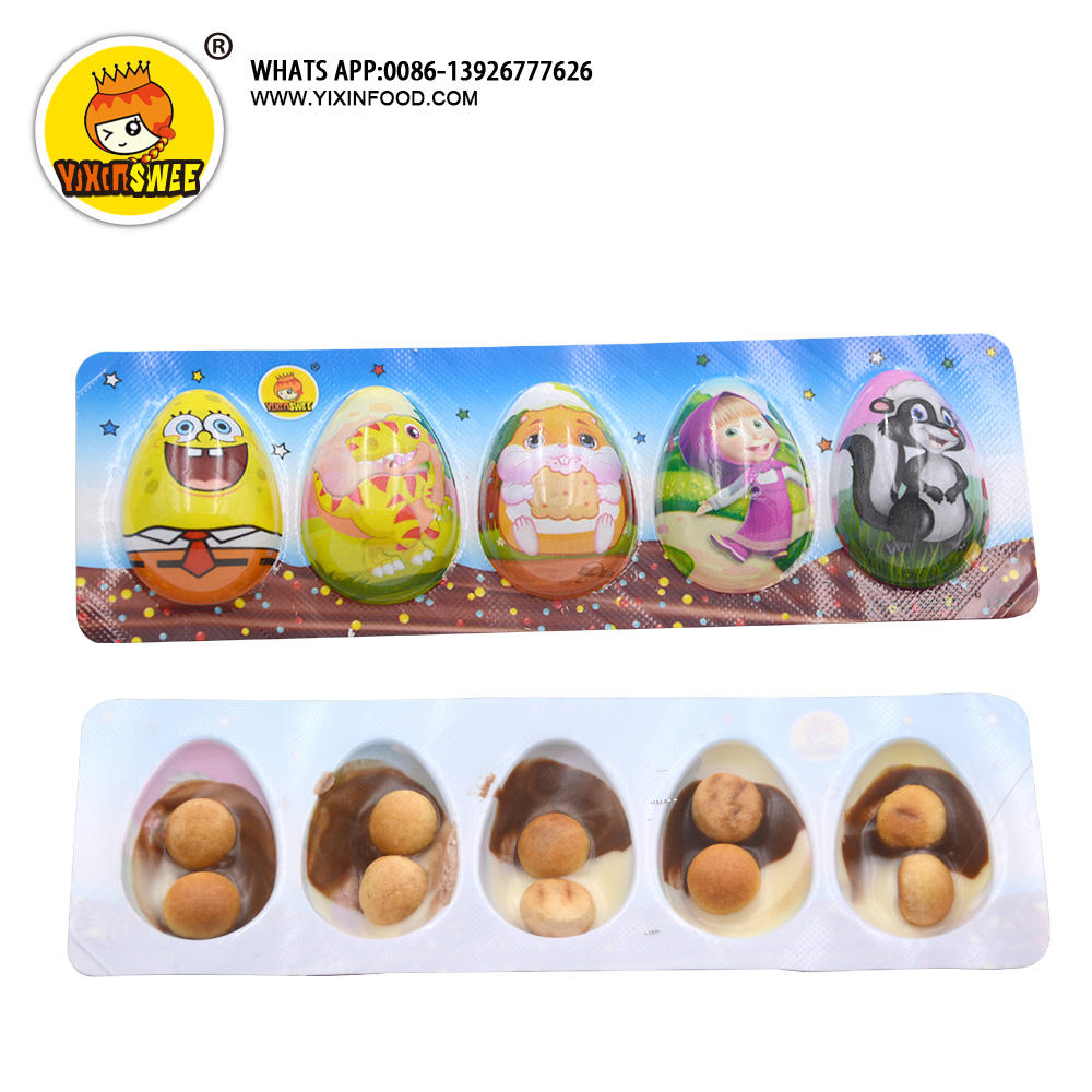 5 pcs mini design half chocolate egg with biscuit for kid in jar