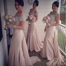 Customized long appliqued cap sleeve chiffon mermaid royal blue peach bridesmaid dresses with detachable tail MBLB5