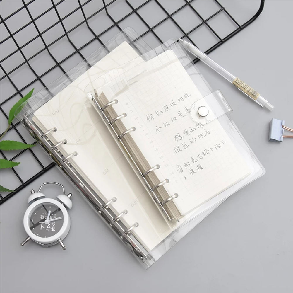 Refillable A5 Size 6-ring Bind Journal Loose Leaf Transparent PVC Cover Waterproof Notebook Snap Button Closure planner