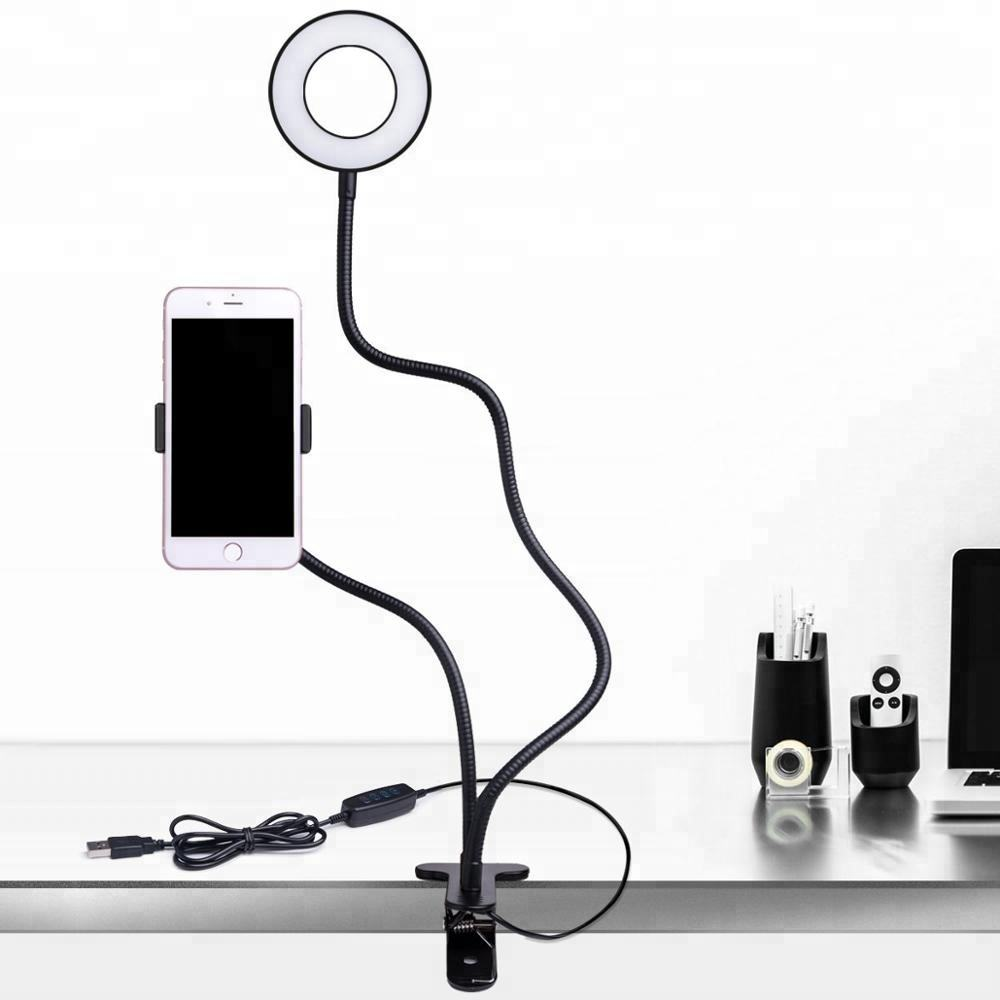 2020 Newst LED Selfie Ring Light with Mobile Phone Clip Holder Lazy Bracket Desk with USB Power to Taking Photos