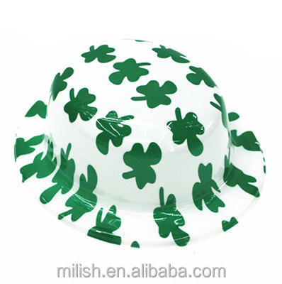 MH-2199 Party Wit En Groene Klaver Saint St Patrick Dag Derby Bolhoed