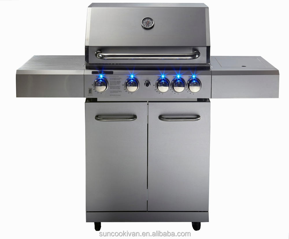 4 main burners barbeceu gas grill with blue LED