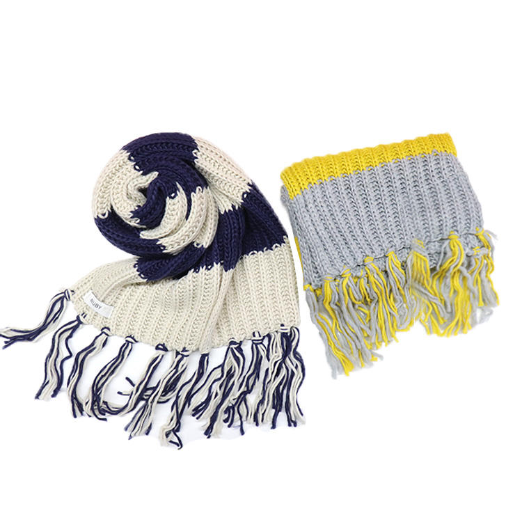 Cold Weather Stripe 100% Acrylic Thick Knitting Tassel Winter Cashmere Scarf