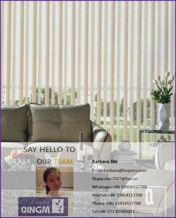 2016 QINGM premium designs zebra blind with dim out sheer roller blind vertical curtain blind