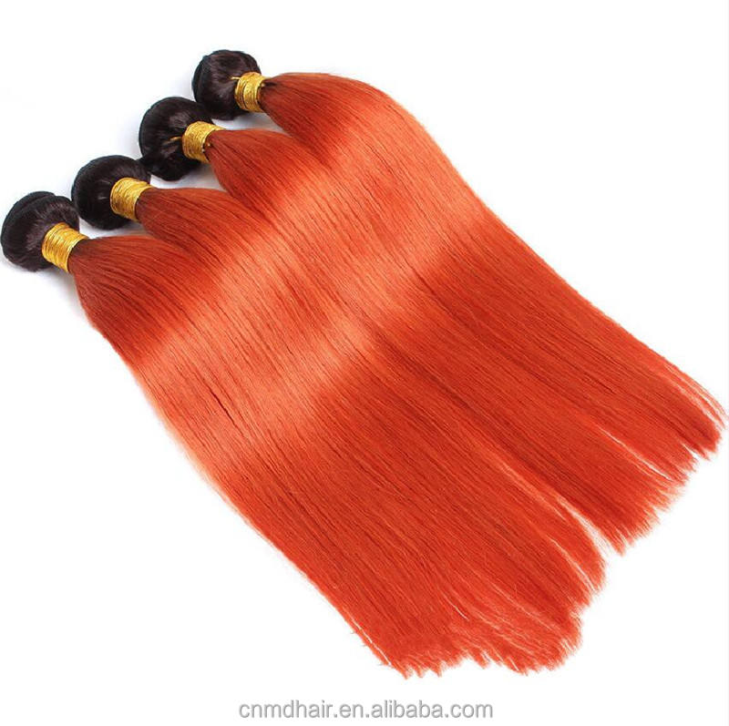 Fashion OT black orange 1b 350 Human Hair Weave Remy Malaysian Ombre Remy Hair For Hair Salon