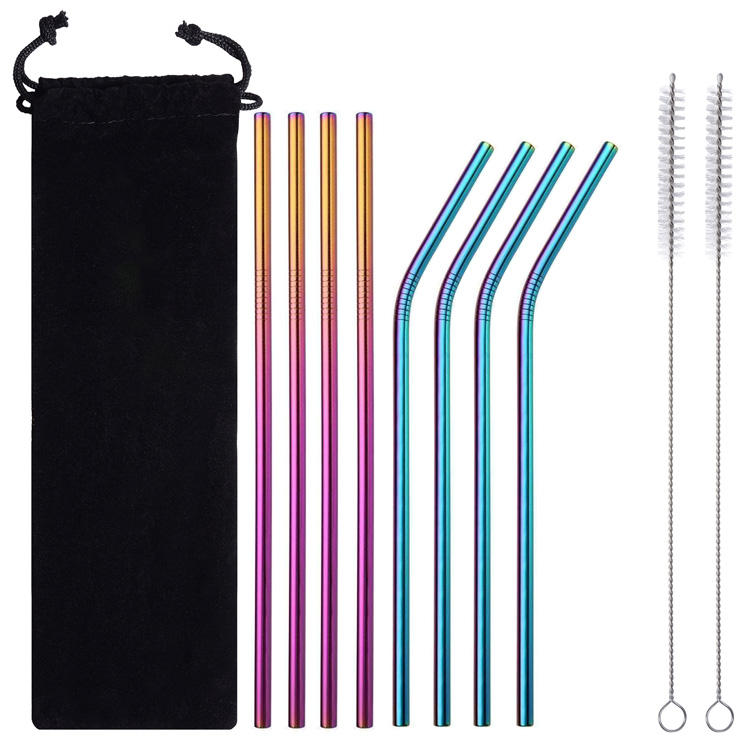 reusable Straw Set 4 Straight+4 Bent+2 Brush Stainless Steel Metal Straw Set