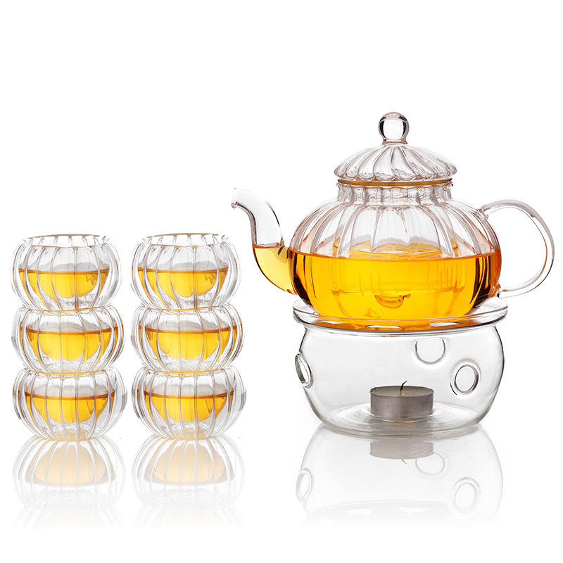 direct fire pyrex glass teapot with glass strainer