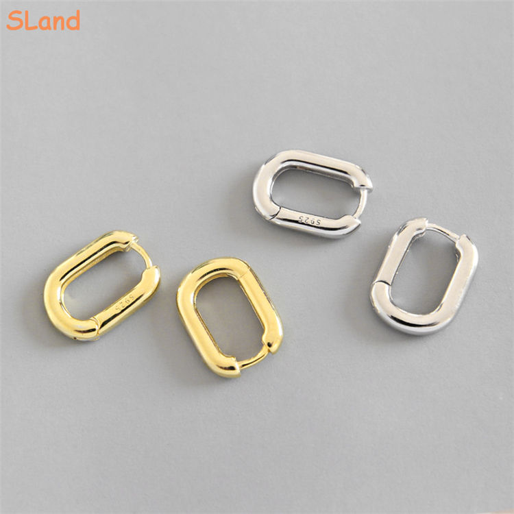 Manufacturer direct wholesale Rounded Edge Small 925 Sterling Silver Square Tube Hoop Earrings Jewelry for Women Girls