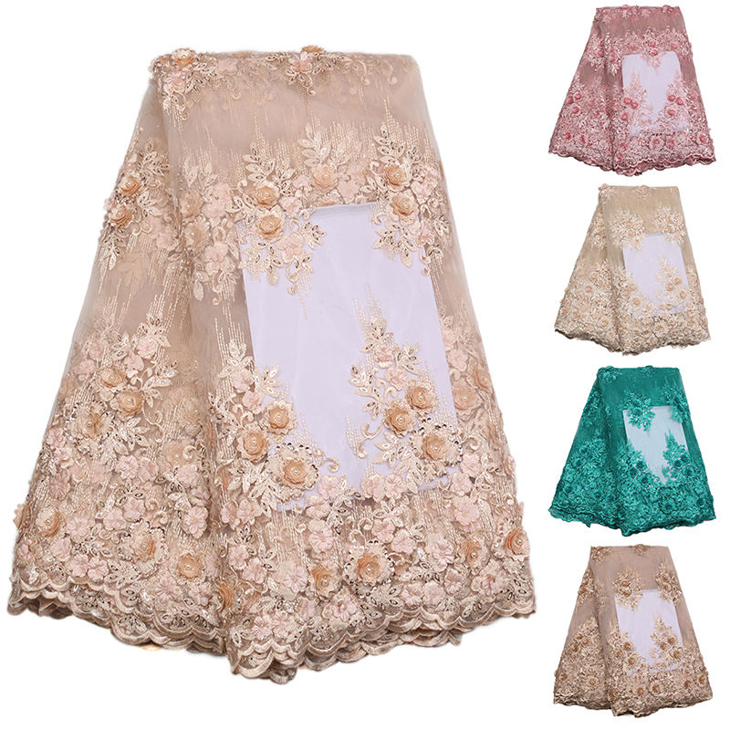XZLACE 2018 Handmade Lace 3d Flower Beaded Wine Party Dress French Tulle Lace Fabric