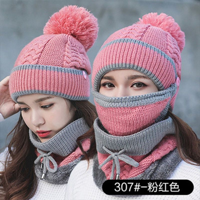 New Fashion Winter Beanie Hat Scarf 3 Pieces Thick Warm Knit Hat For Women