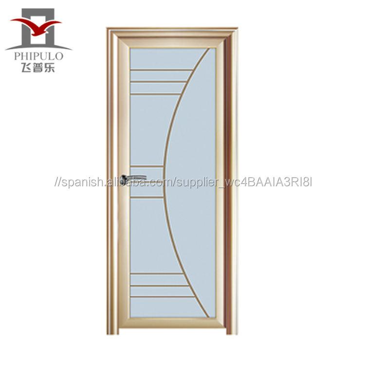 Fabricación fábrica puerta diseño de aluminio puerta del baño