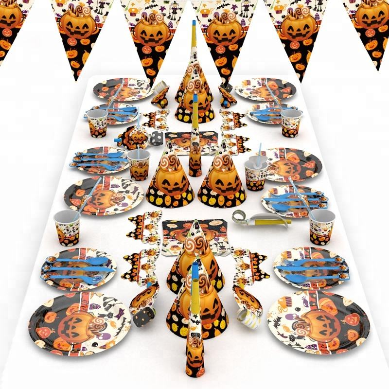 2018 New Halloween Pumpkin Decorations set, Happy Birthday party Supplies for kids, Black Orange cups, hats and plates