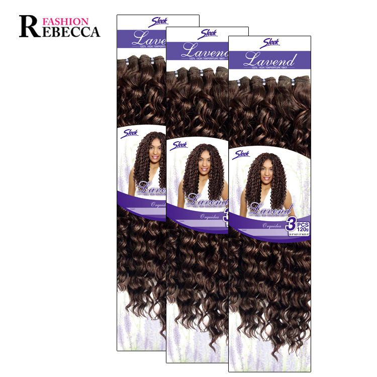 Rebecca fashion fluffy water curl long bohemian synthetic hair weave synthetic hair bundle