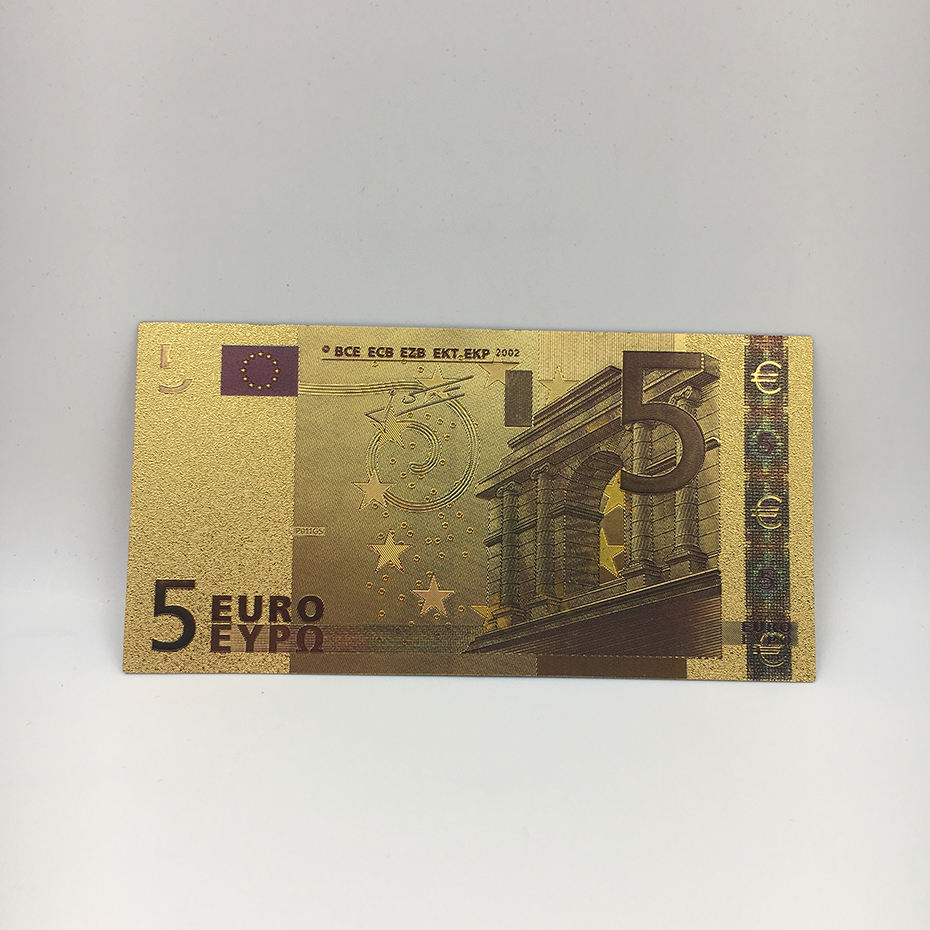 24k gold foil banknote fake EURO 5 bill collectable bank notes for office display