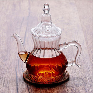 Hand Blown Durable Heat Resistance Teapot Moroccan Tea Serving and Glasses