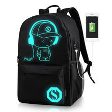 Luminous USB outdoor led light backpack light up backpack hemp backpack student notebook bagpack