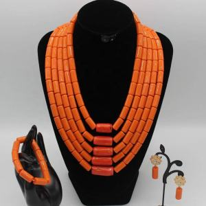 AZ2557 2019 High Quality Wedding Jewelry African Italian Coral Beads Jewelry Set