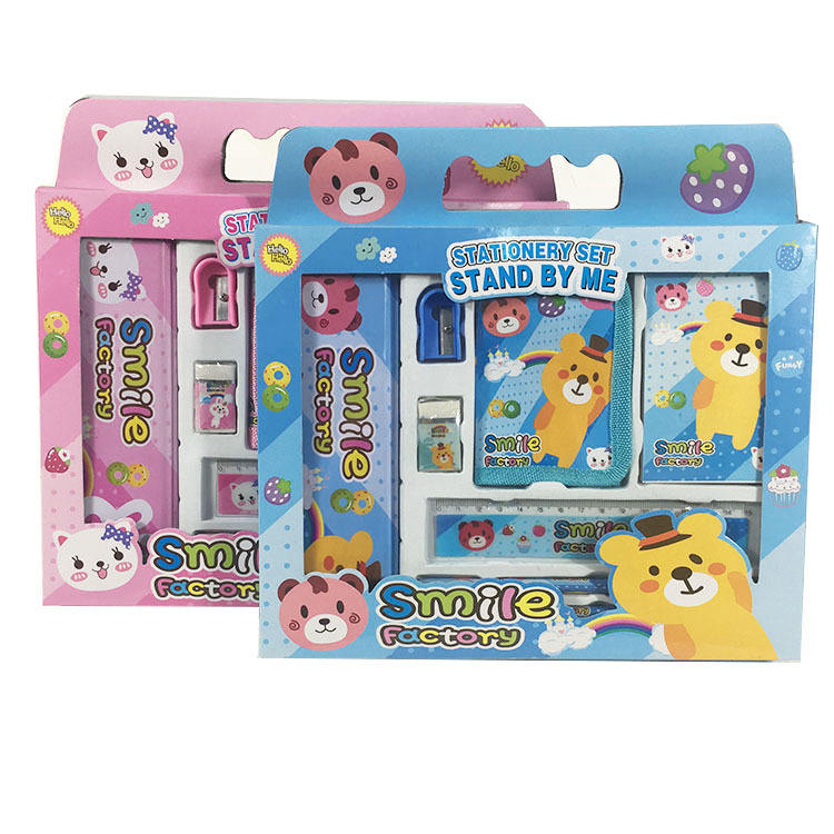 Back to school promotional gift school stationery set with pencil case note book