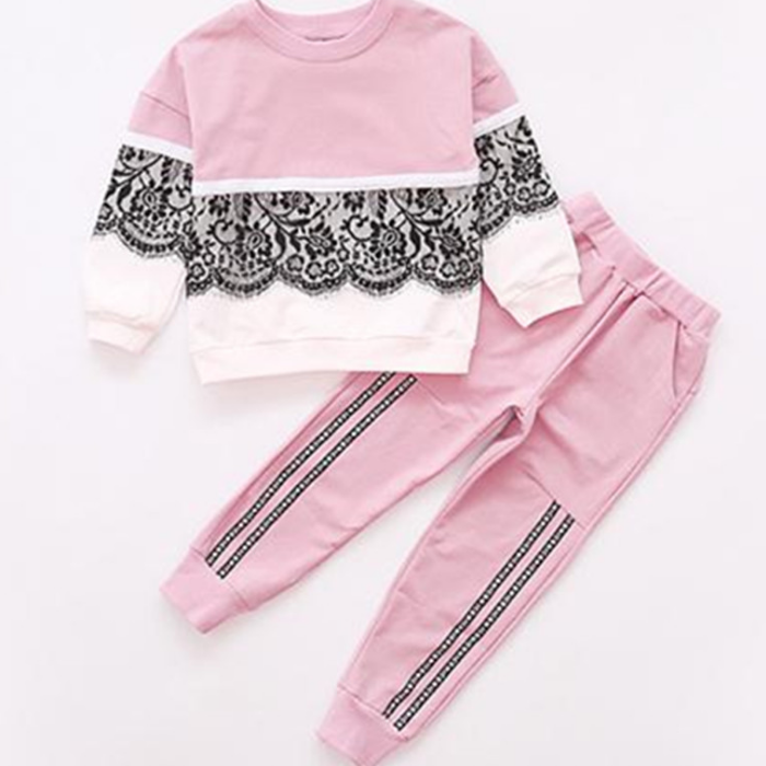 YY10106G New children autumn frock lace design beautiful young girls track suit sports