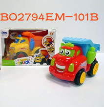 Hot selling electric bump and go light and music cartoon dump truck toy car