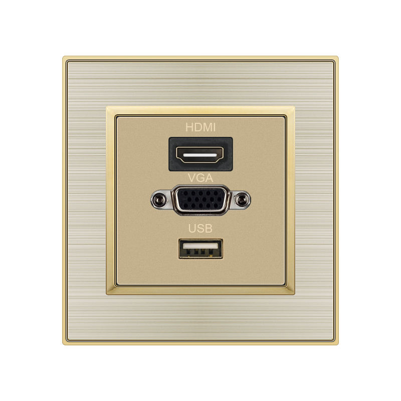 FIKO Hotel wall type 86 gold concealed panel three -hole HDMI with USB with VGA interface apartment bedroom bedside socket