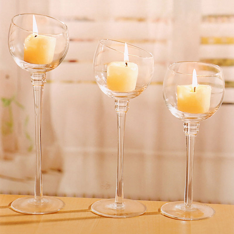Mescente home goods smoked glass tall crystal standing plexiglass centerpiece lamp cone tealight candle holder for wedding
