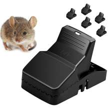 Hotselling S Size&L size Rat Trap ABS Trap 6 Pack Black Plastic Reusable Mouse Trap