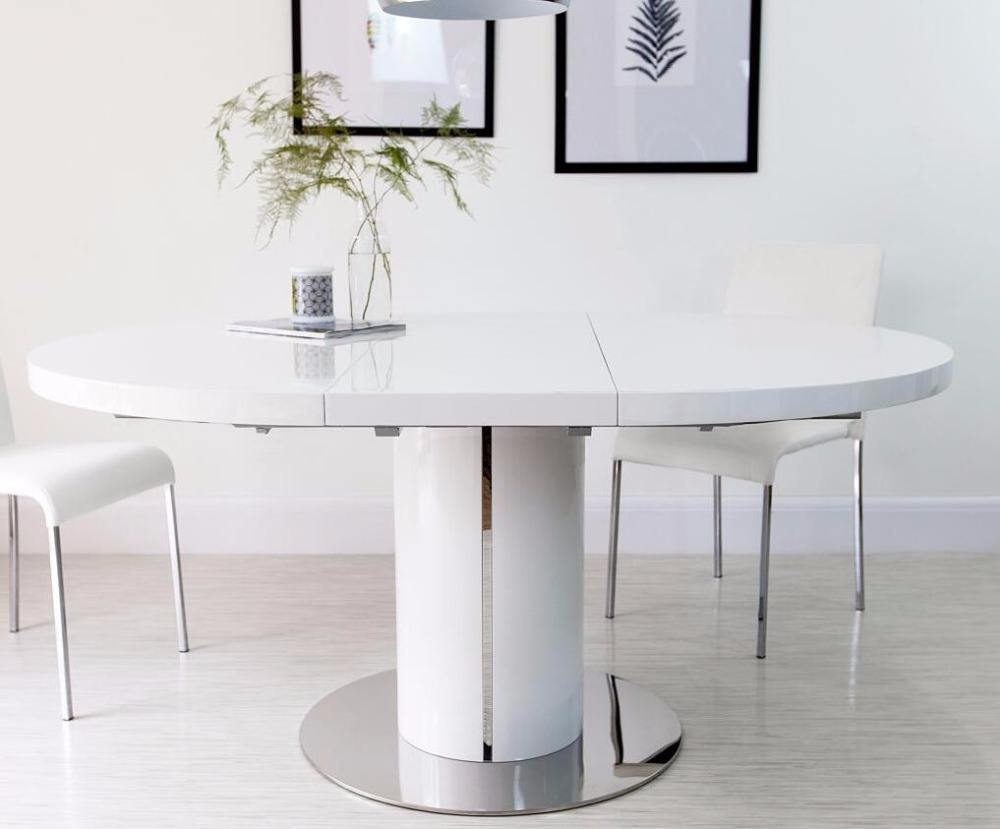 European Round White Gloss Extending Dining Table