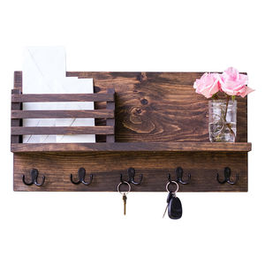 Rustic Wooden Key And Mail Holder Mail Organizer Hanging Shelf With Hooks