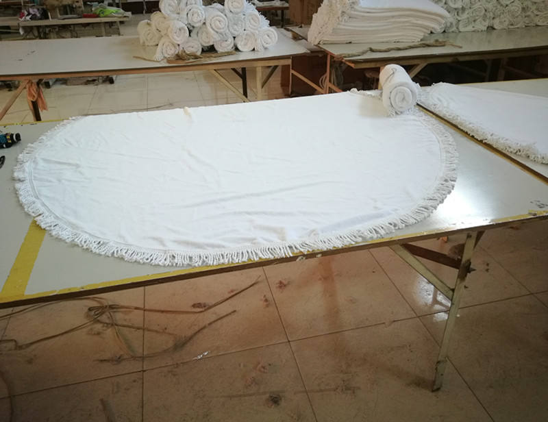 100% cotton white round beach blank towel for promotion