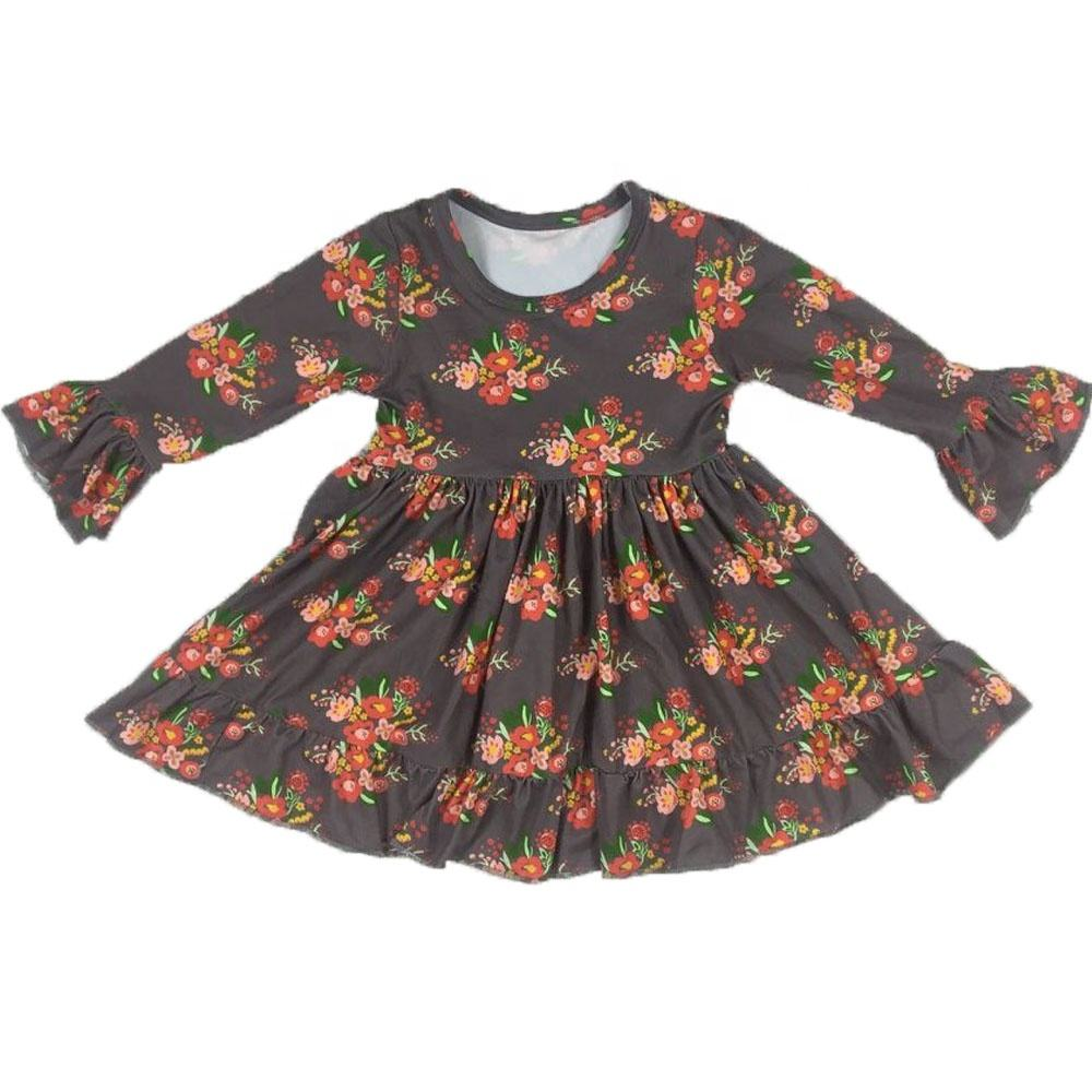 LZ 2020 Fall new born ruffles baby girl winter brown printed Petal Sleeve dress causal floral dress