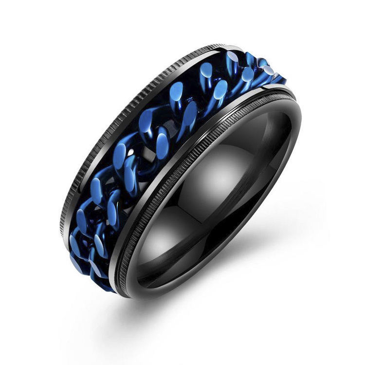 Stylish Black Chain Gear Ring for Men, Korean Band Ring for Young Adult
