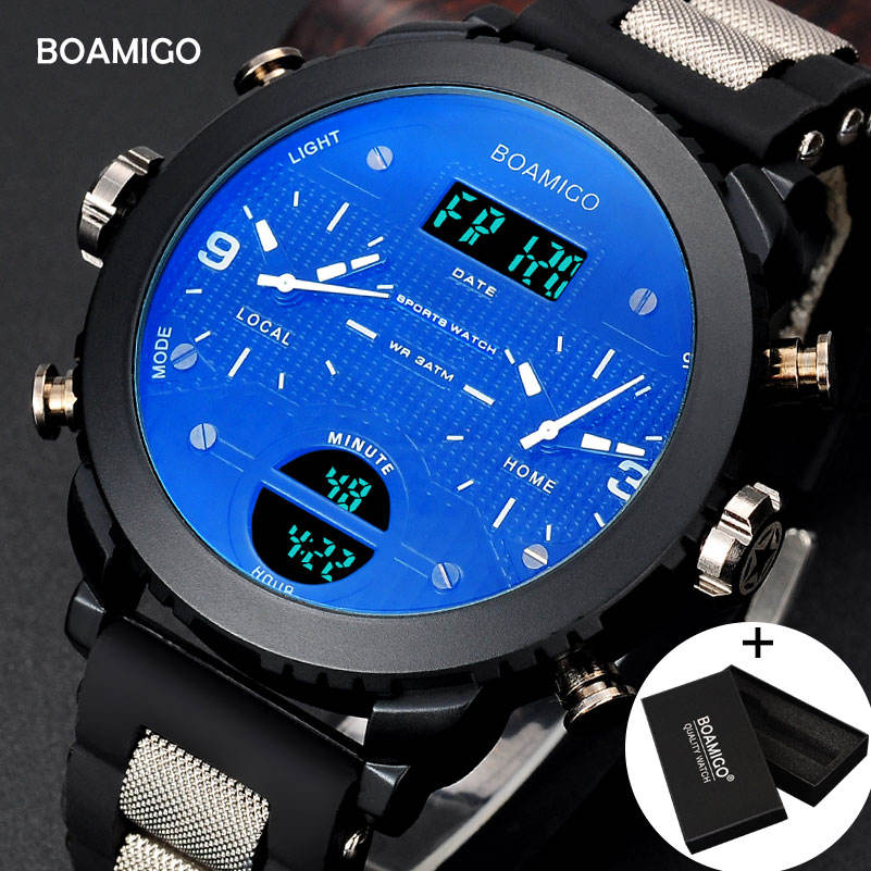 BOAMIGO brand 3 time zone military sports watches male LED digital quartz wristwatches