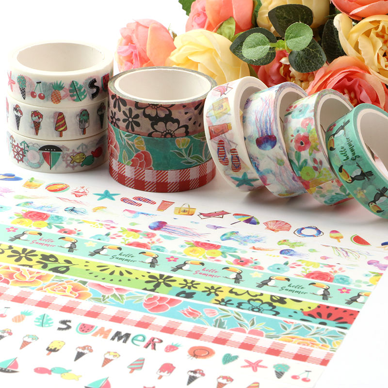 cheap and good quantity Stock Washi Tape Colorful Decorative Japanese Paper Tape