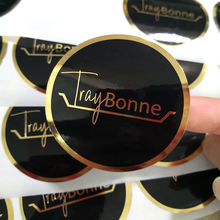 Custom printing round logo package label paper sticker, rose gold foil clear PVC sticker