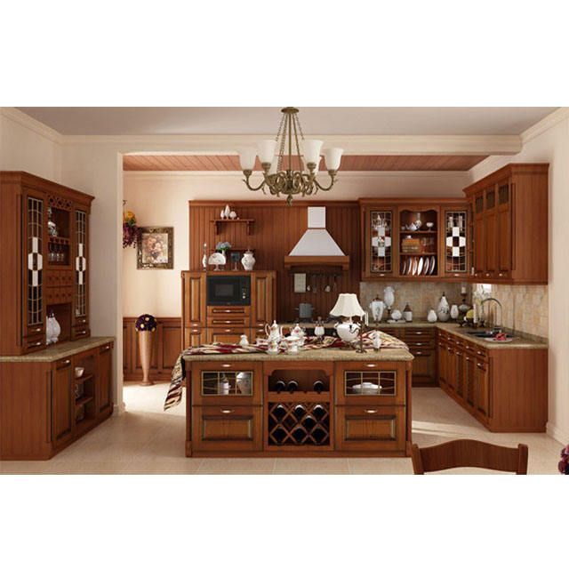 The best choice European standard Classical solid wood kitchen cabinet