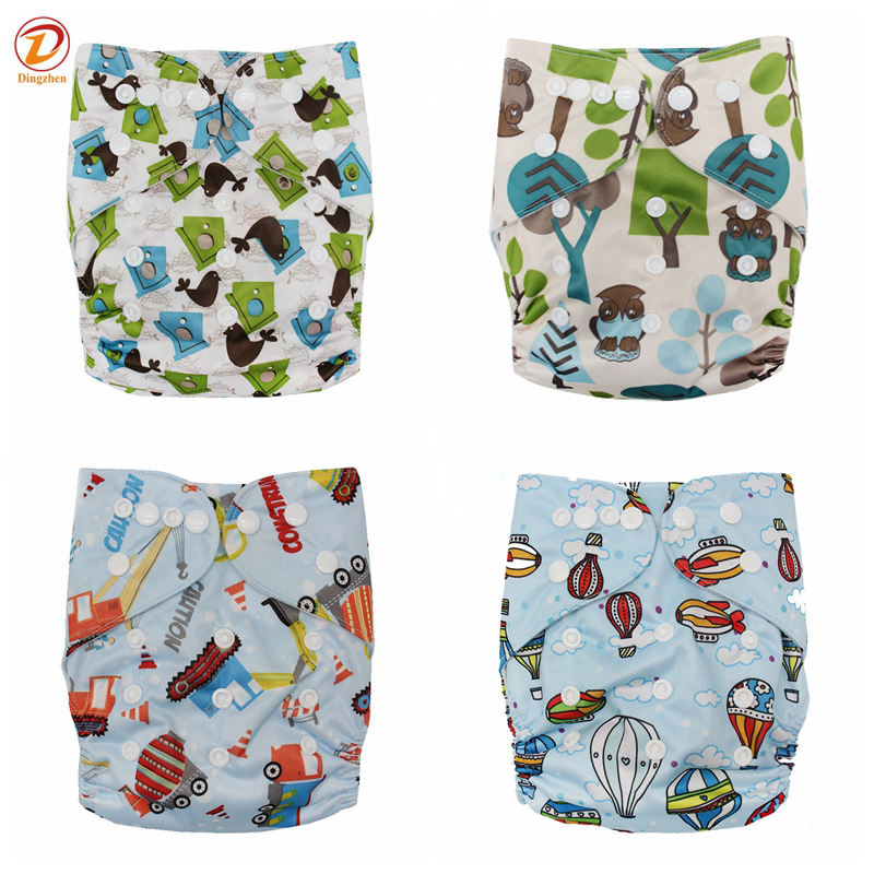 4 In Pack Reusable One Size baby cloth diaper for baby washable pocket diaper