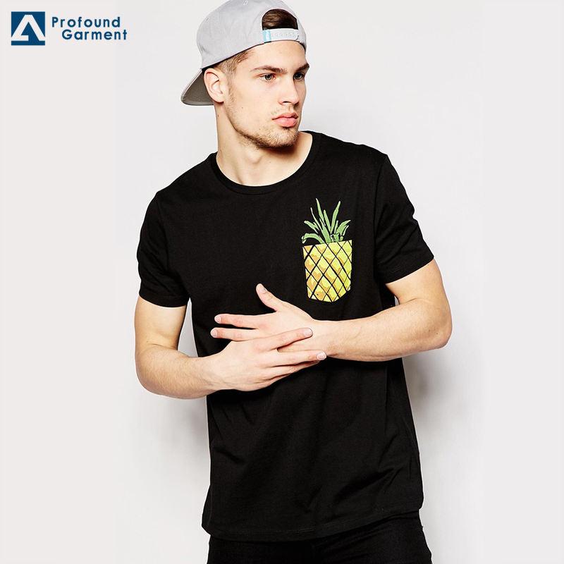 Gros dernières créations poche élégant streetwear hommes personnalisé t shirt impression