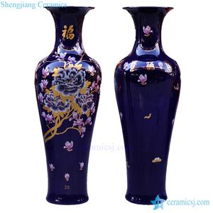 Antique whosale chinese 60inch tall floor ceramic flower porcelain flower vase large for office decoration out door funiture