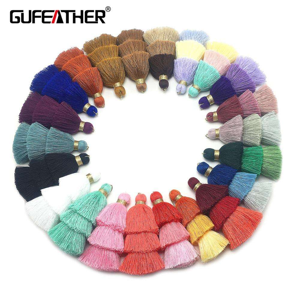 GUFEATHER 8cm,Hot Sale 3 Layer Multicolor Cotton Tassel for Earrings Finding