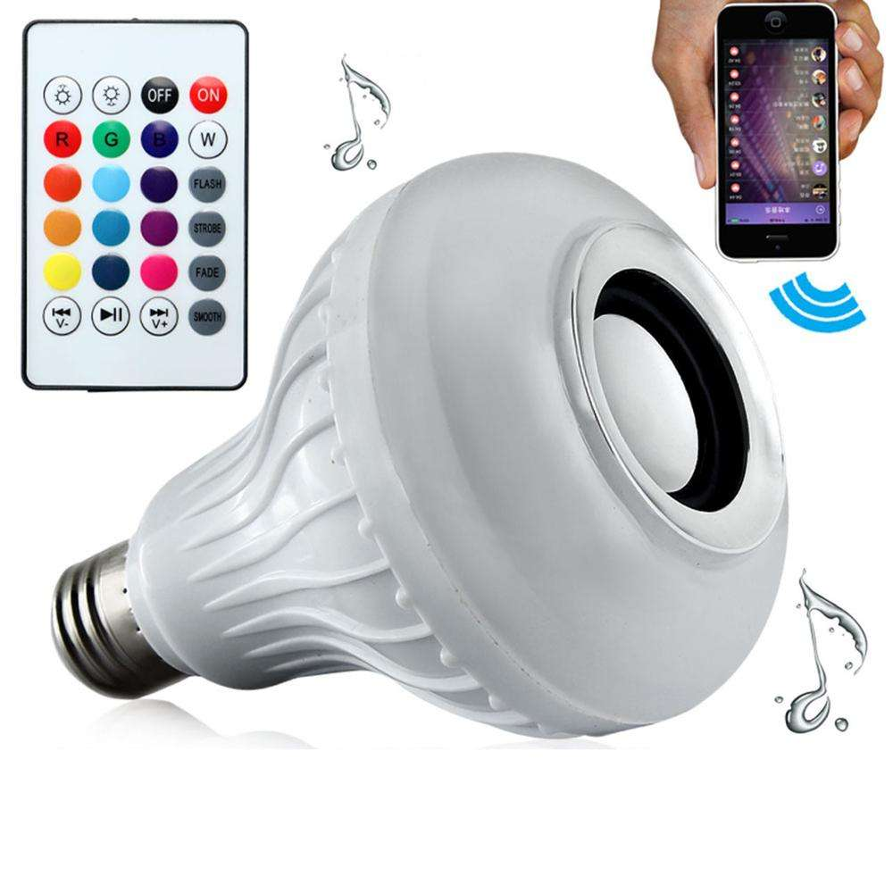 Energy saving led residential lighting bluetooth light bulb speaker with remote controller 6W RGB E27 smart lamp for home