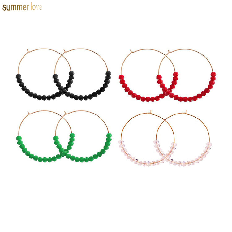 Fashion Handmade Boho Round Circle Glass Beads Gold Hook Big Hoop Dangle Crystal Women Wedding Earrings Jewelry