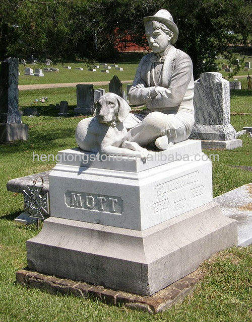 Marble Gravestone Man with Dog tombstone Sculpture