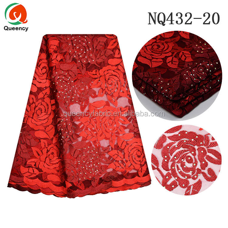 NQ432 Queency Pretty Design Flower Embroidery Beaded Net Fabric Sarees African Bridal Lace