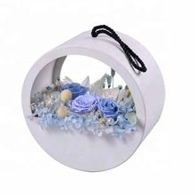 Flower Box with Handle Leather Round Flower Box Luxury White Wedding Decor Floral Arrangement Accessories Elegant Gift Box