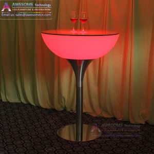 commercial led furniture round bar height pub table for hotel club